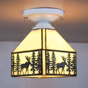 White Base Lodge Pattern 8 Inch Semi Flush Mount Ceiling Light in Stained Glass Style