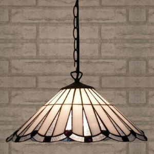 White Colored Stained Glass 16 Inch Tiffany One-light Pendant Lighting