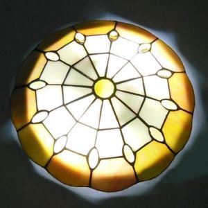Yellow and Beige Pattern 12 Inch Flush Mount Ceiling Light in Tiffany Stained Glass Style