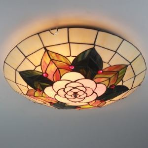 3-light Green Leaf Motif 20 Inch Tiffany Style Flush Mount Ceiling Light