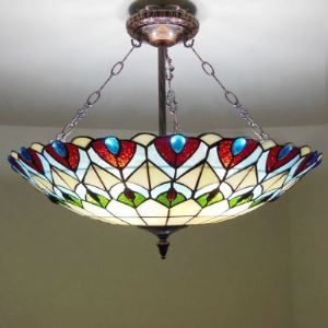 Four-light Peacock Stained Glass Tiffany Chandelier with Copper Finish