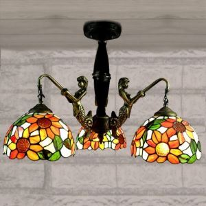 Three Lights Sunflower Tiffany Style Mermaid Ceiling Light