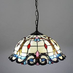 Exotic Stained Glass Tiffany 16 Inch Downlight Hanging Baroque Pendant Lighting