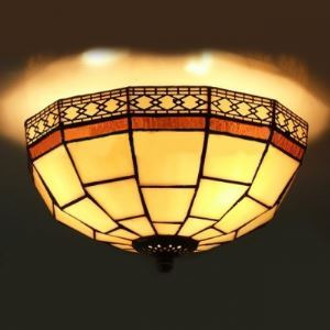 10 Inch Geometric Pattern Flush Mount Ceiling Light in Tiffany Stained Glass Style