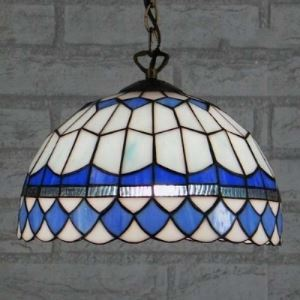 Downward Blue Bowl 12 Inch Hanging Pendant Lighting in Tiffany Stained Glass Style