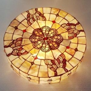 Three-light Butterfly Shell Material Stained Glass Tiffany Flush Mount Ceiling Light