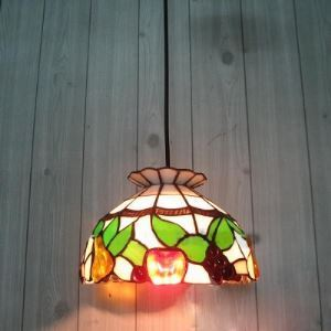 Mini Size Hand Crafted Country Style Fruit Motif 8 Inch One-light Tiffany Pendant Lighting