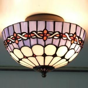 Uplight Bowl Shade 10 Inch Flush Mount Ceiling Light in Tiffany Stained Glass Style