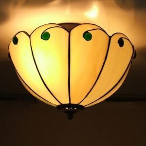 Beige Stained Glass 11 Inch Tiffany 2-light Flush Mount Ceiling Light