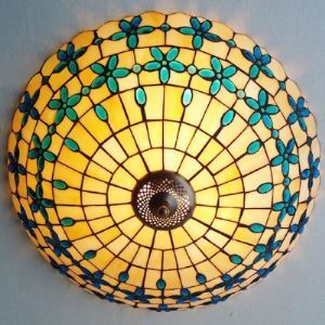 Blue Bead Decorated 12 Inch Flush Mount Ceiling Light in Tiffany Stained Glass Style