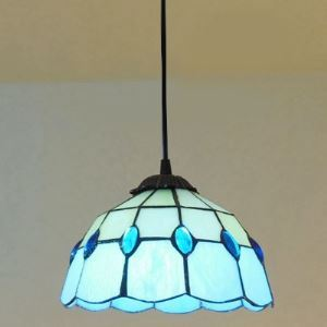 Tiffany Stained Glass Style Blue Pattern 8 Inch Mini Hanging Pendant Lighting
