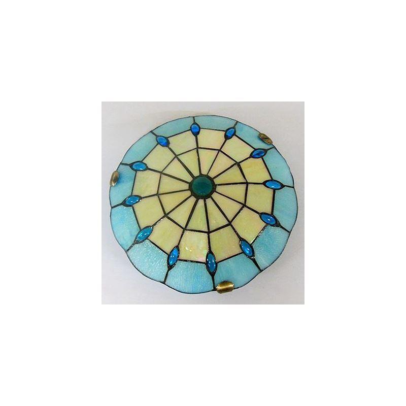 beige and blue pattern 12 inch flush mount ceiling light. Black Bedroom Furniture Sets. Home Design Ideas