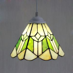 One Light 8 Inch White and Green Stained Glass Tiffany Mini Pendant