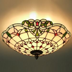 Three-light Hand-made Stained Glass Tiffany 3-light Flush Mount Ceiling Light