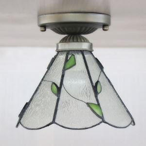 Nature 8 Inch Wide Green Leaf Accent  One-light Tiffany Semi Flush Mount Ceiling Light