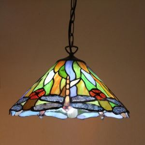 Green Finished Country Style 15 Inch Tiffany Hanging Pendant Lighting with Dragonfly Pattern