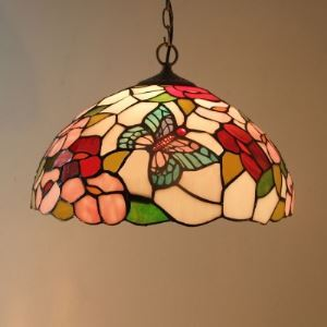 Country Style Flower and Butterfly Stained Glass Tiffany 15 Inch Hanging Pendant