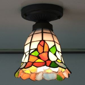 6 Inch Bell Shade Colorful Stained Glass Tiffany Flush Mount Ceiling Light