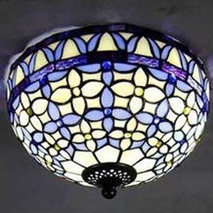 Bowl Shape 12 Inch Flush Mount Ceiling Light in Blue Tiffany Stained Glass Style