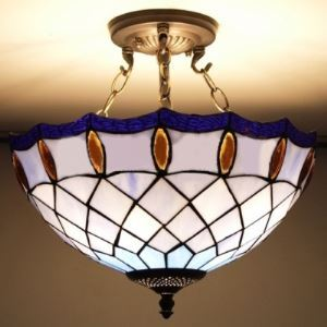 Blue Stained Glass 15 Inch Chandelier Pendant Lighting in Tiffany Style