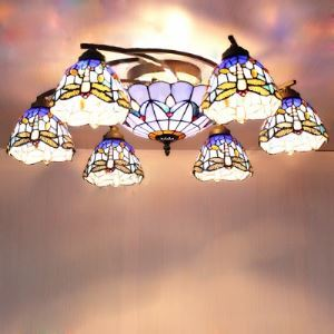 Swirly Bronze Base 31 Inch Wide Tiffany Chandelier Ceiling Light with Dragonfly Pattern