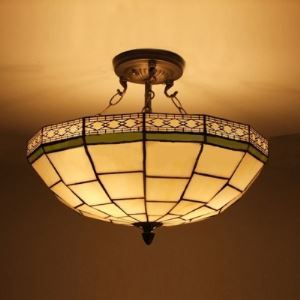 Uplight Geometric Pattern 16 Inch Chandelier Pendant Lighting in Tiffany Stained Glass Style