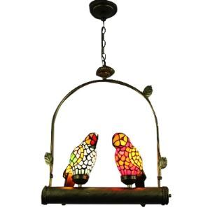 Two Parrots Tiffany Pendant in Traditional Fashion