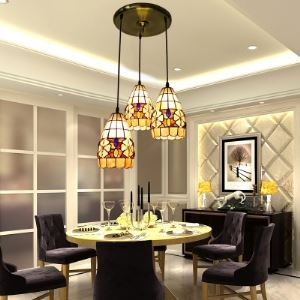 Round Shade Base Tiffany Three-light Dinning Room Pendant Lighting