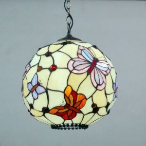 Globe Shape Butterfly Pattern 12 Inch Hanging Pendant Lighting in Tiffany Stained Glass Style