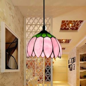 10 Inch Multi-color Lotus Glass Shade 1 Light Tiffany Pendant