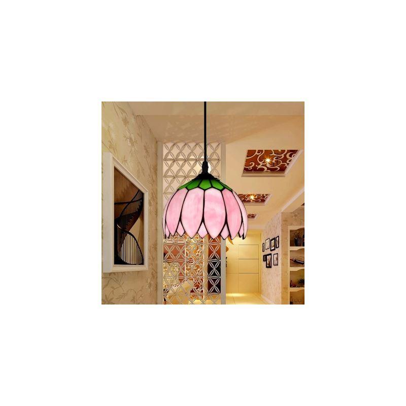 Image of 10 Inch Multi-color Lotus Glass Shade 1 Light Tiffany Pendant