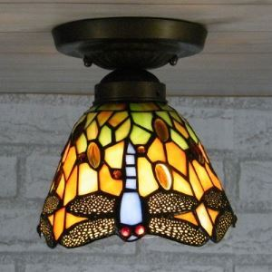 Dragonfly Patterned Country Style 6 Inch Wide Tiffany Flush Mount Ceiling Light