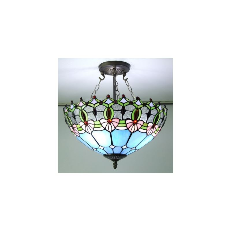 Blue Stained Glass 16 Inch Tiffany 3-light Semi Flush Mount Ceiling Light - Homelava.com