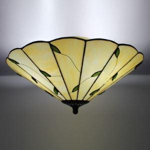 16 Inch Wide Leaf Motif Three-light Tiffany Flush Mount Ceiling Light