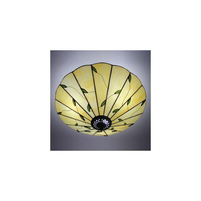 16 Inch Wide Leaf Motif Three Light Tiffany Flush Mount