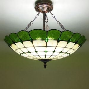 4-light Copper Base Green Stained Glass 20 Inch Tiffany Chandelier