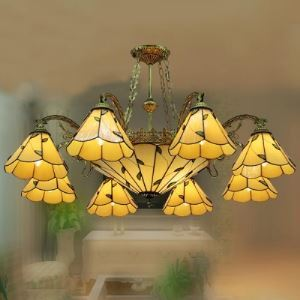 37.7 Inch Wide Green Leaf Ten-light Tiffany Chandelier with Center Bowl