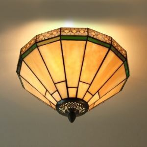 Umbrella Geometric Pattern12 Inch Semi Flush Mount Ceiling Light in Tiffany Stained Glass Style