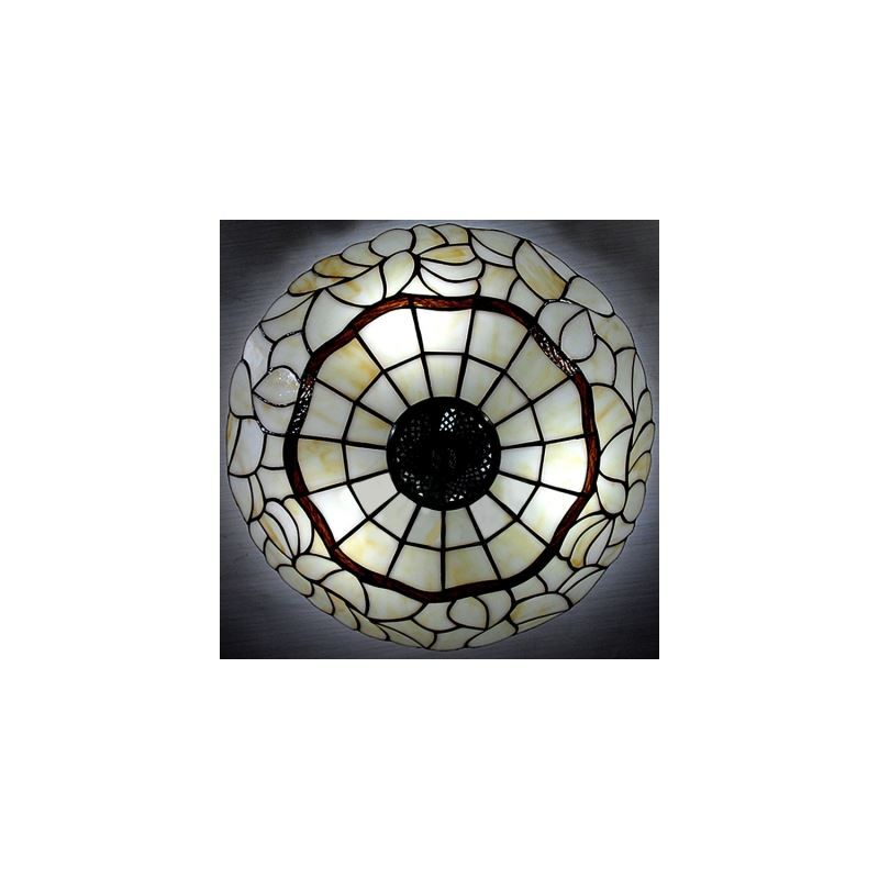 White Glass 16 Inch 3 Lights Tiffany Pendant With Antique