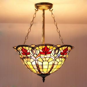 3-light Fancy Stained Glass Baroque Design 5 Inch Chandelier in Tiffany Style