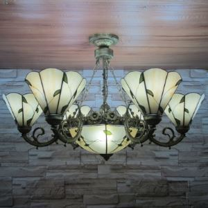 Leaf Motif Center Bowl Ceiling Light 34 Inch Wide Country Style 9-light Tiffany Chandelier