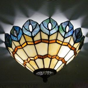 Peacock Design Country Style 12 Inch Wide Tiffany Flush Mount Ceiling Light