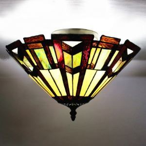 Puzzle Pattern 12 Inch Flush Mount Ceiling Light in Tiffany Stained Glass Style