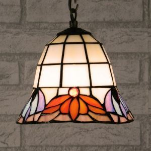Lotus Pattern 8 Inch Mini Hanging Pendant Lighting in Tiffany Stained Glass Style