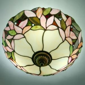 Blossom and Leaf Motif Three-light Stained Glass 14 Inch Tiffany Flush Mount