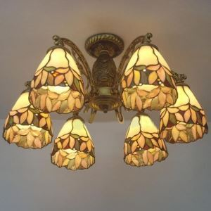 Six-light Leaf Motif Stained Glass 24 Inch Tiffany Style Chandelier