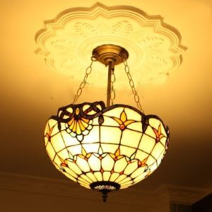 16 Inch Bowl Shade Hand-made Stained Glass Tiffany 3-light Chandelier