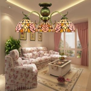 Downward Hanging Pink Blossom Tiffany Style Ceiling Light