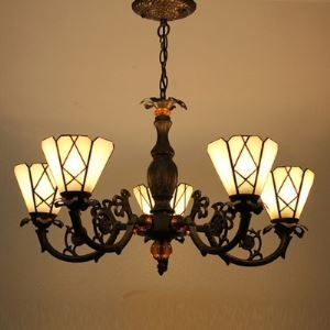 Five Lighted Tiffany Pendant Chandelier in Bronze Finish