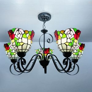 Black Finished Five Lighted Tiffany Chandelier with Red Rose